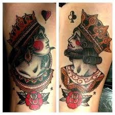 Colorful King and Queen Card Tattoos