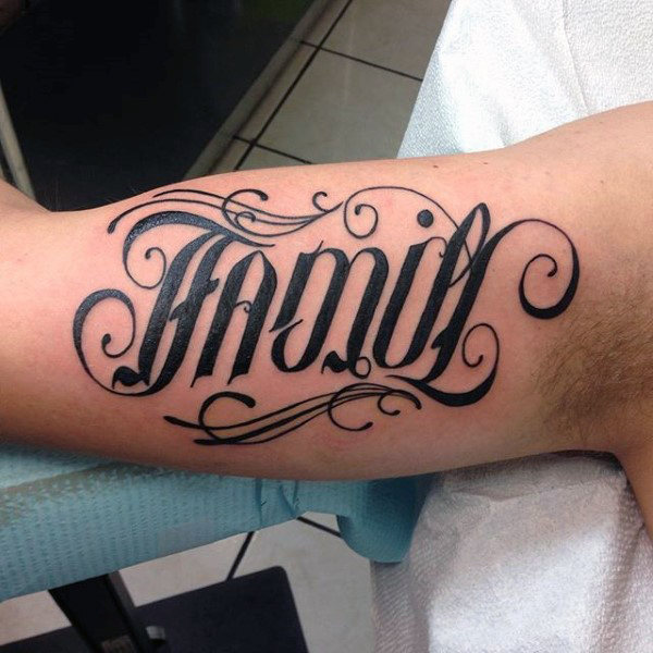 Cool Guys Ornate Script Family Tattoo On Inner Bicep Of ...