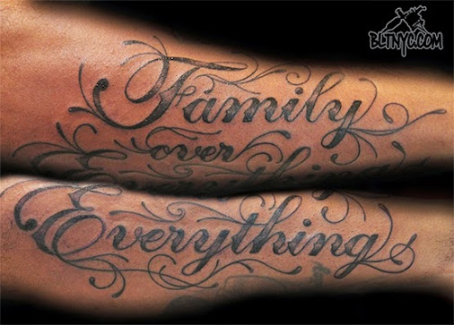 Family Over Everything Arm Tattoo by NY Nic at Body Language