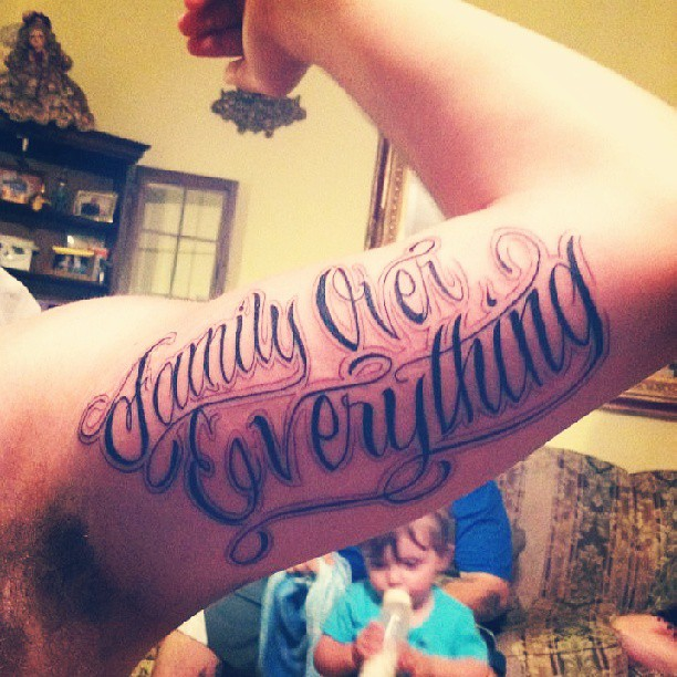 Family Over Evrything Tattoo Tattoo On Left Bicep
