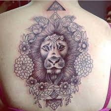 Flower And Lion Tattoo Design For Girls On The Back All Tattoos