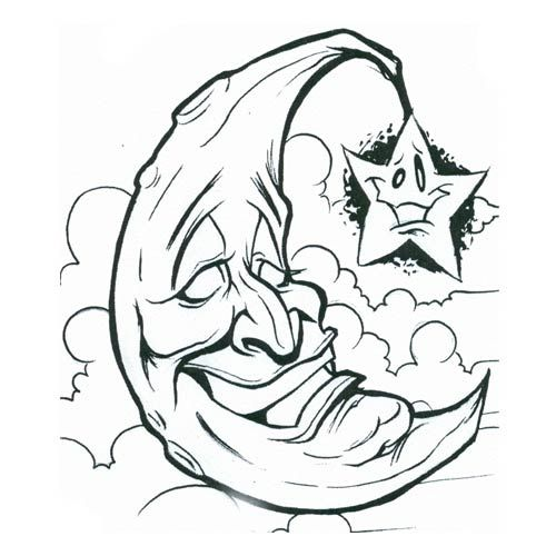 Funny Moon And Star Without Color Tattoo Design