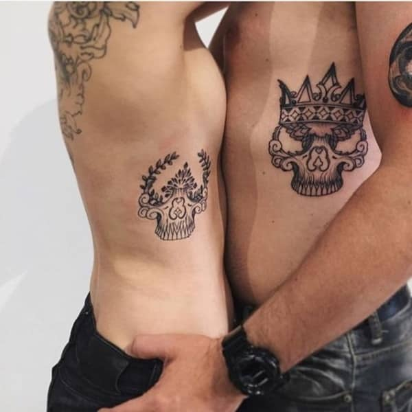 Husband and Wife Tattoo Beauty and the Beast King & Queen 2