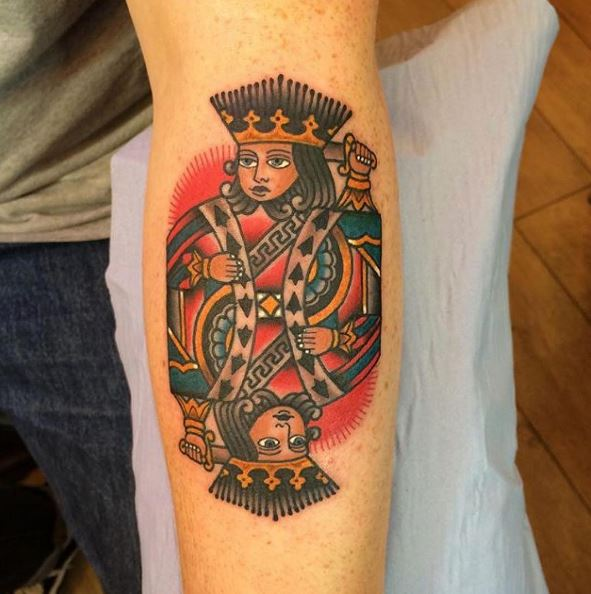 King tattoo design are not ideal cover up tattoos as they occupy less space and fade away after some time.
