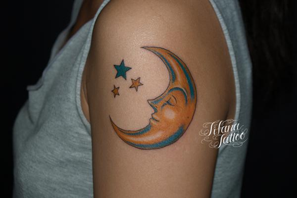 Outline Star And Crescent Moon Tattoo On Bicep 2