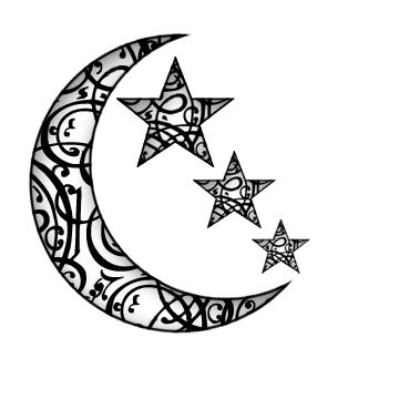 Outline star and moon tattoo design 2