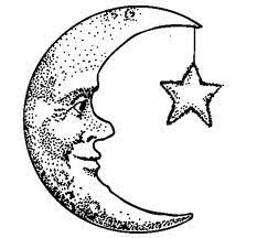 Outline star and moon tattoo design 3
