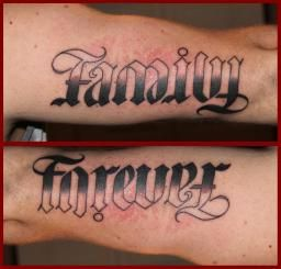 Pin Family Forever Ambigram Tattoo
