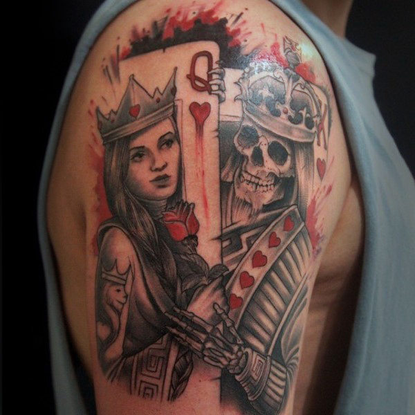 Queen King Traditional Tattoo