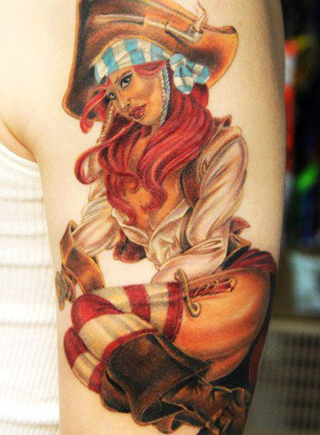 Red Hair Pirate Pin Up Girl Tattoo