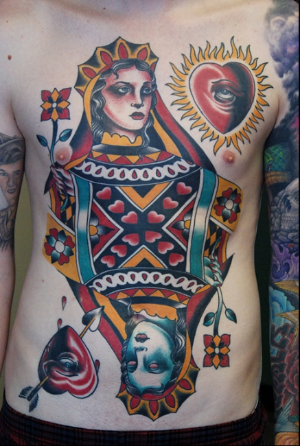 This beautiful Queen of Hearts tattoo is by Todd Noble at Right Coast Tattoo in Delaware.