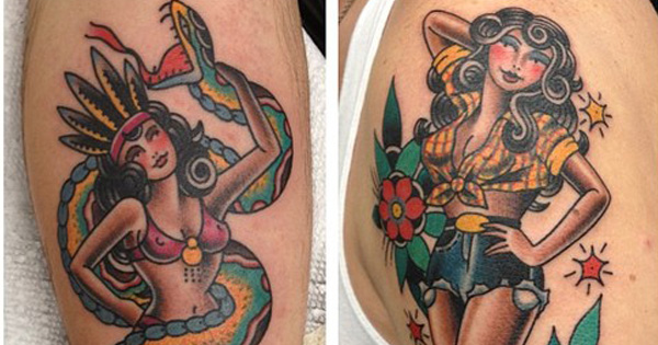 Traditional American Sailor Pin Up Tattoos