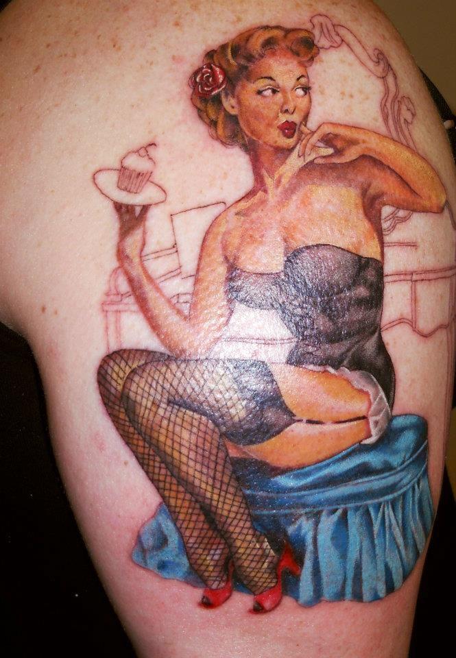 Vintage Cupcake Pin Up Girl Tattoo - Ian Loughlin