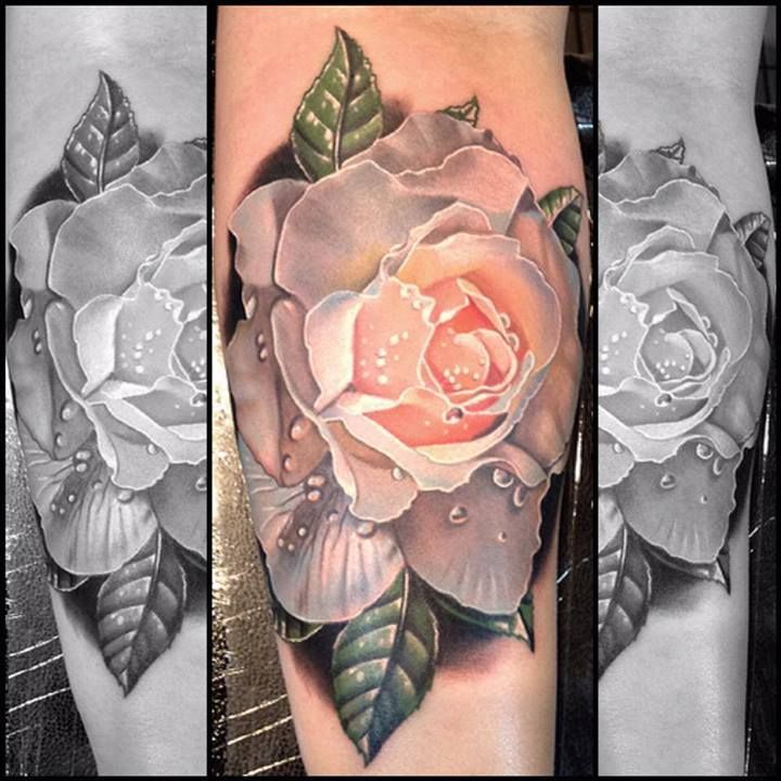 gorgeous rose tattoo by Phil Garcia. , All Tattoos For,Men