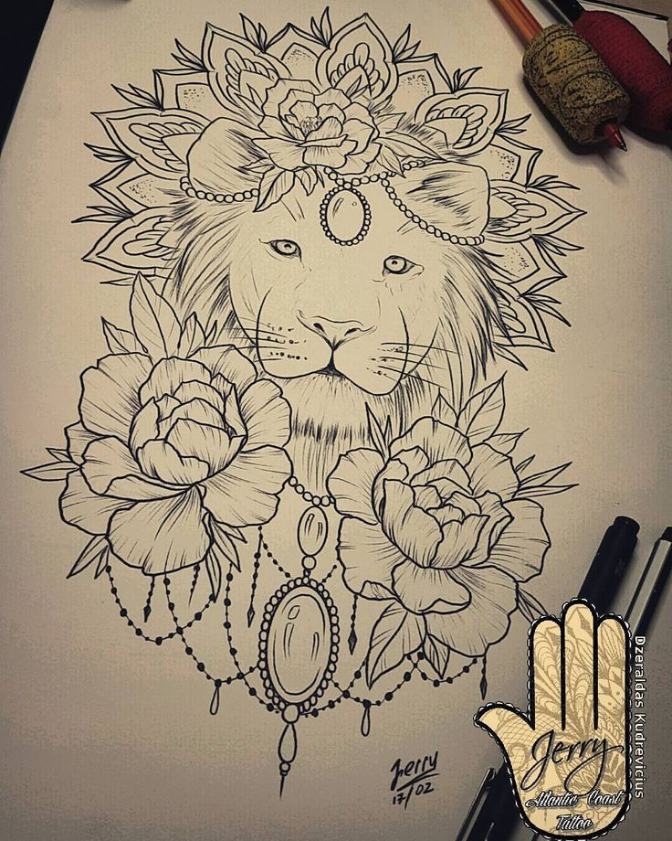 Lion Tattoo Drawing With Flowers Tattoo Designs Ideas Tattoo ideas first tattoo lion tattoo design alion tattoo tattoo. lion tattoo drawing with flowers