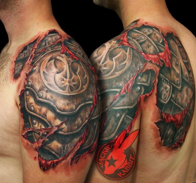 3d Hand Tattoo Design On Chest