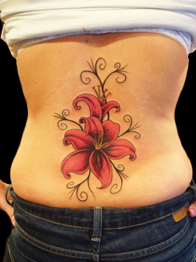 3d red flowers with butterfly tattoos on waist photo - 2