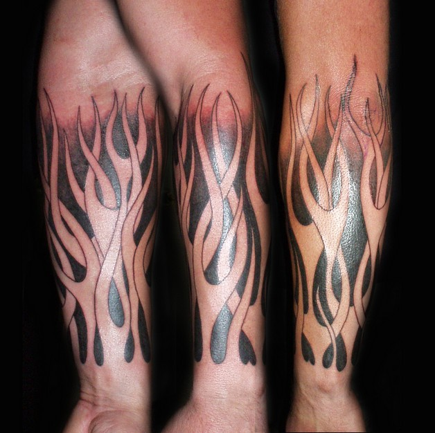 8 Ball Skull Pin Up Girl And Flames Tattoos On Sleeve photo - 1