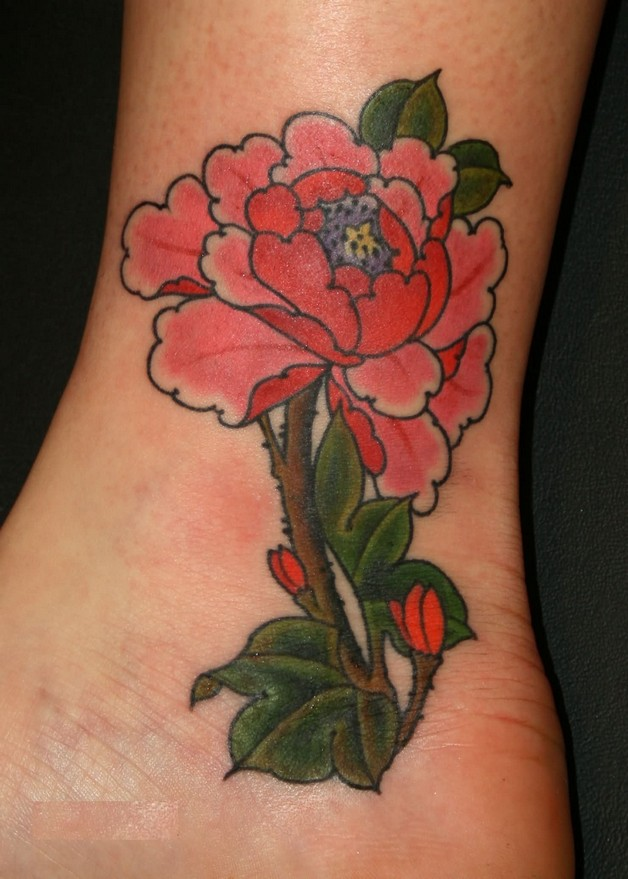 A Red Flower Tattoo Design photo - 1