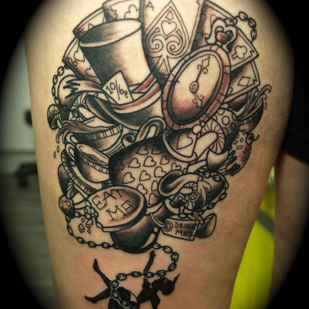 Alice In Wonderland Rabbit And Cat Tattoos On Shoulder