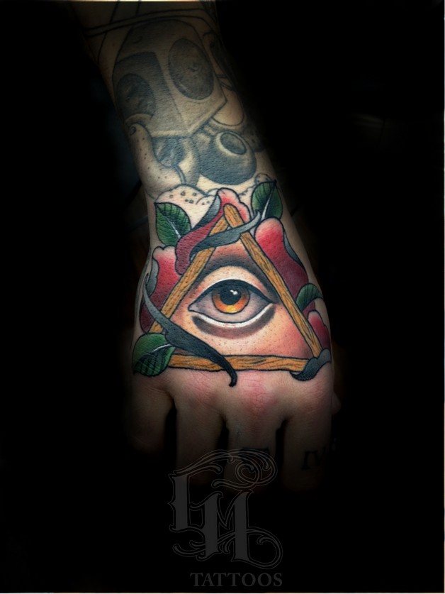 All Seeing Eye Dagger Rose Tattoo Image photo - 1