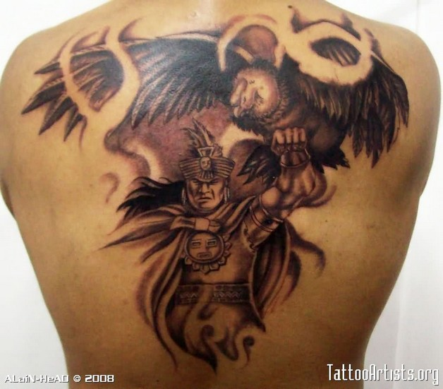 Amazing Fighter Aztec With Eagle Tattoo Design photo - 1
