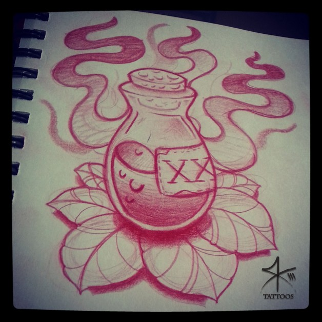 Amazing Poison Bottle Tattoo On Arm photo - 1