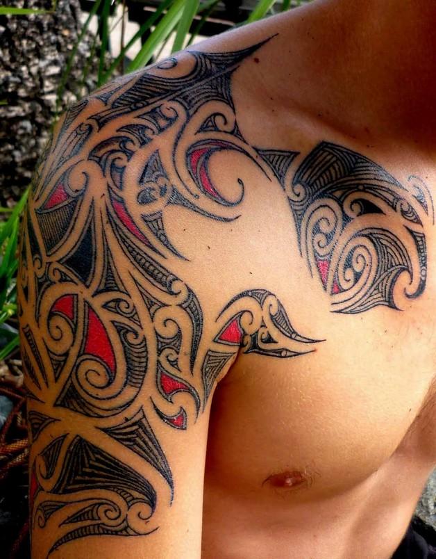 Amazing Red Octopus Tattoo Around Shoulder photo - 1