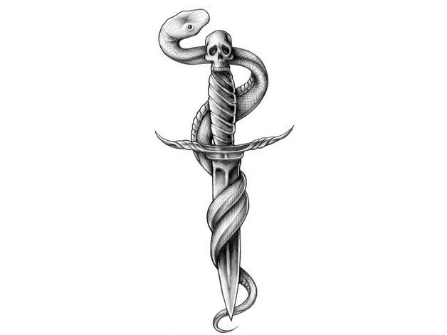 Amazing Snake With Rose Dagger Tattoo Design photo - 1