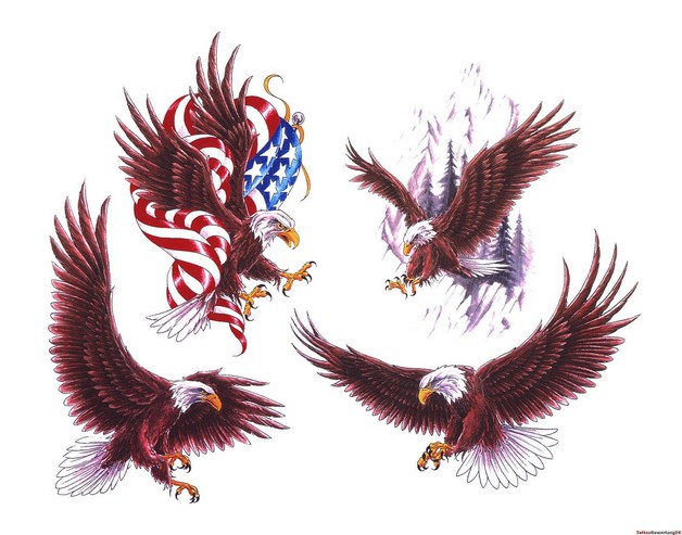 American Eagle With Flag Tattoo Design photo - 1