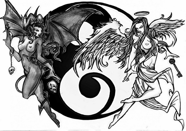 Angel Devil Yin Yang Tattoos photo - 1