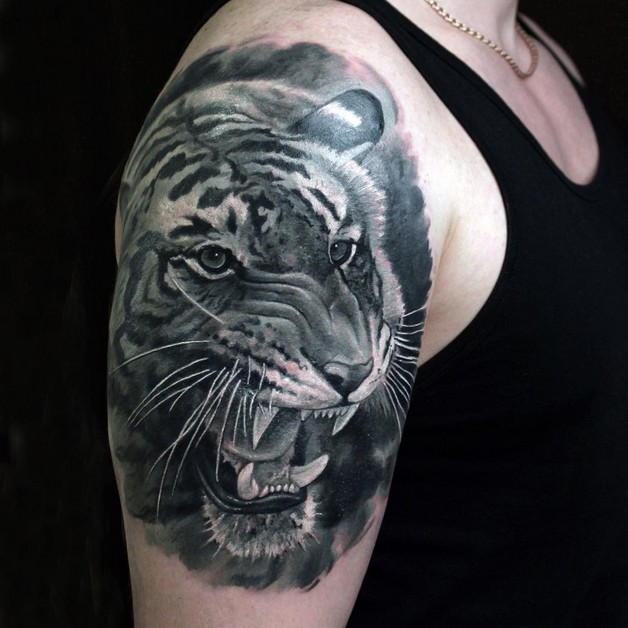 Angry black and white tiger tattoo design for How much are white tattoos