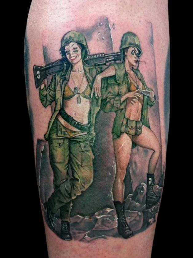 Army Pinup Tattoo Stencil photo - 1