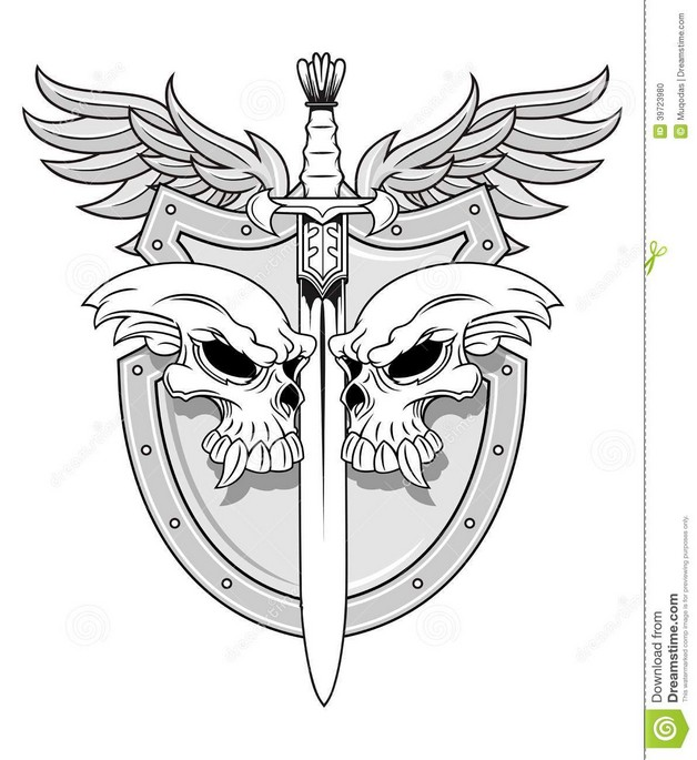 Army Skull Soldier Holding Dagger Tattoo photo - 1