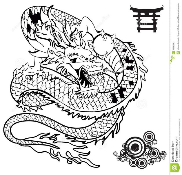 Asian Dragon Tattoo Design On Back With Color Ink photo - 1