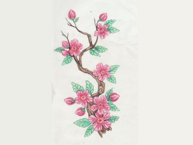 Asian Flowers Tattoo Design