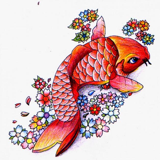 Asian Koi Fish Tattoo On Shoulder Back photo - 1