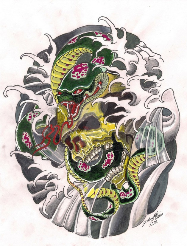 Asian Snakes & Flowers Tattoo Design photo - 1