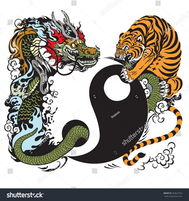 Asian Tigers Ying Yang Tattoo Design photo - 1