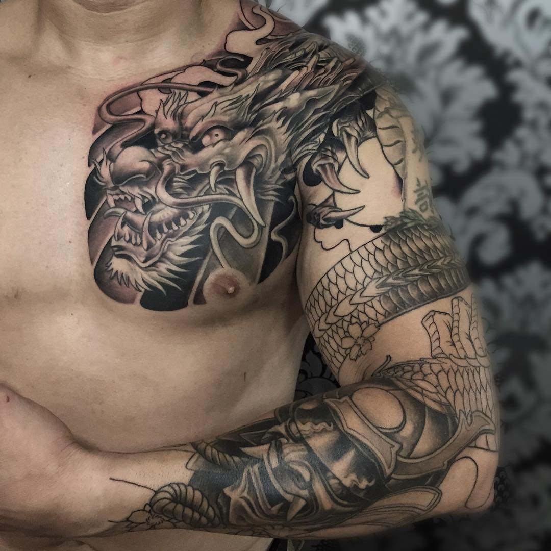 Asian warrior dragon tattoo design for All in one tattoo