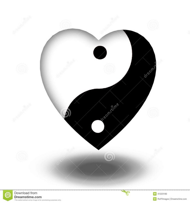 Asian Yin Yang Symbol Tattoo With Hearts Conceptual Background photo - 1