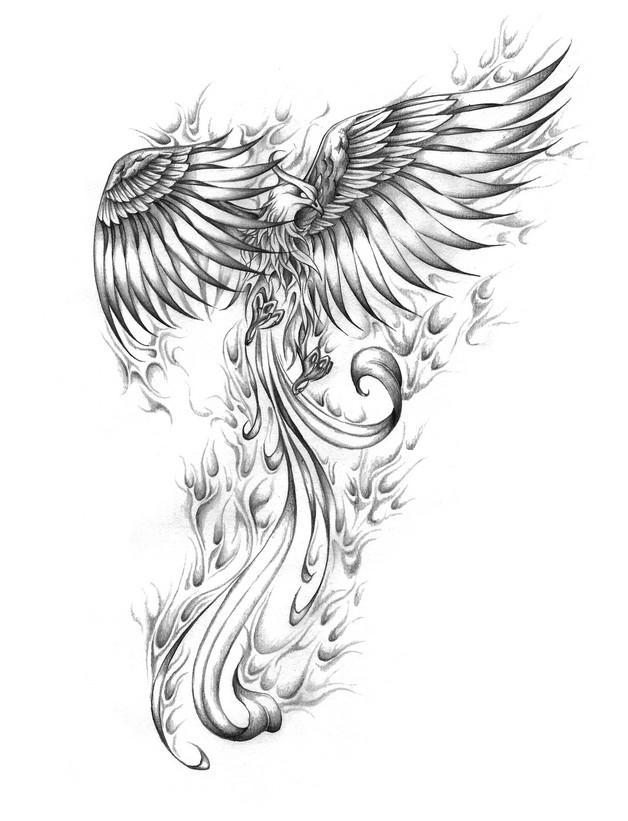 Awesome Black Eagle Tattoo on Back photo - 1