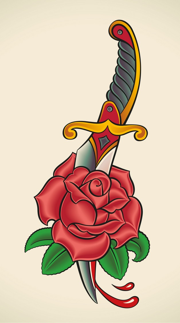 Awesome Rose Dagger Tattoo On Chest photo - 1