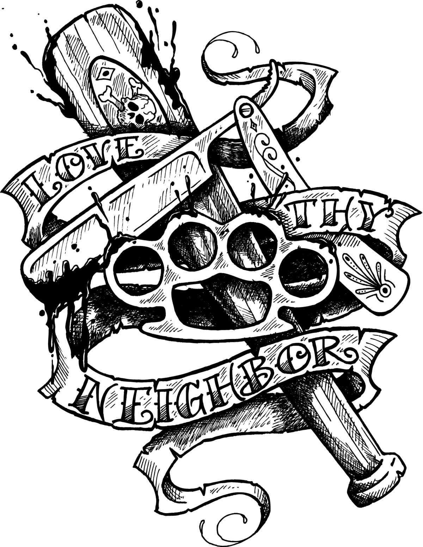 Awesome Skull Dagger Tattoo Design photo - 1