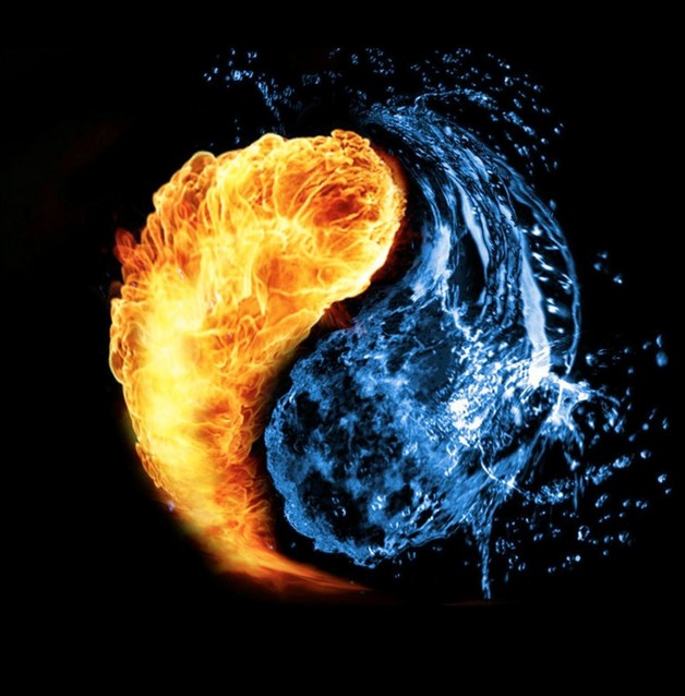 Awesome Water Fire Ying Yang Tattoo On Thigh photo - 1