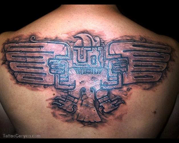 Aztec Eagle Tattoo On Back Body photo - 1