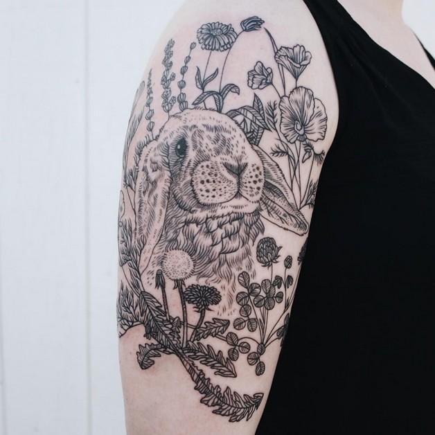 Back Neck Rabbit Tattoo photo - 1