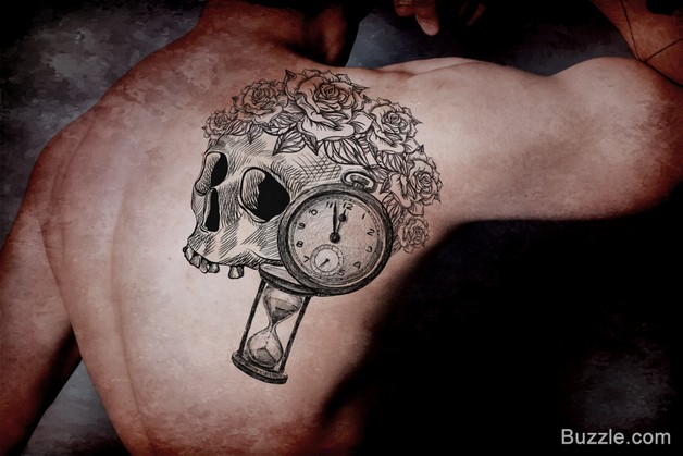 Banner Owl On Old Hour Glass Tattoo photo - 1