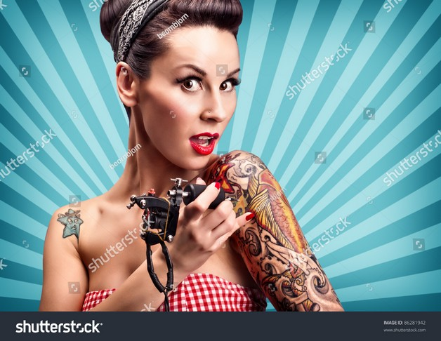 Beautiful Pin Up Girl And Camera Tattoos photo - 1