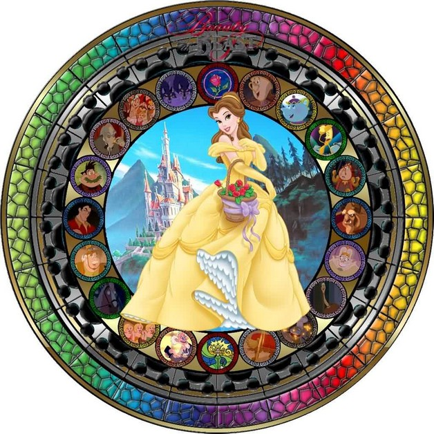 beauty and the beast stained glass window chicago tattoo